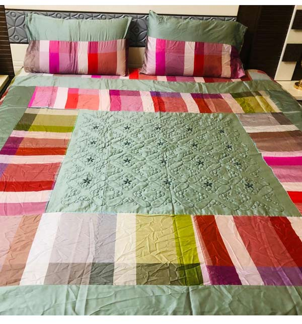 Cotton King size Patch Work Bed Sheets (BCP-04)