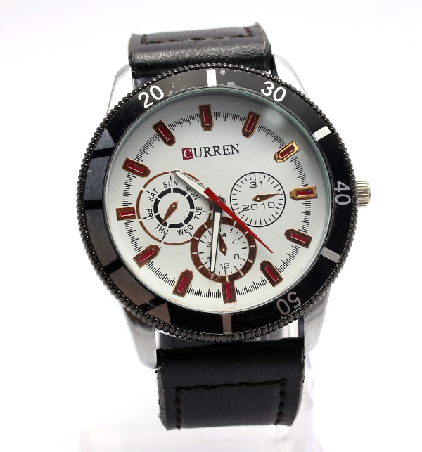 Curren Black Leather Analog Watch for Men (CW-81)