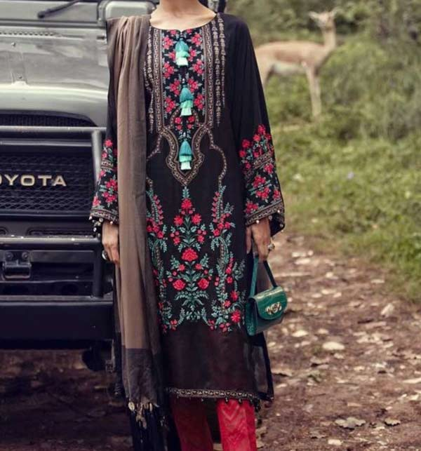 Linen Embroidered Dress With Wool Shawl Dupatta  UnStitched (LN-181)