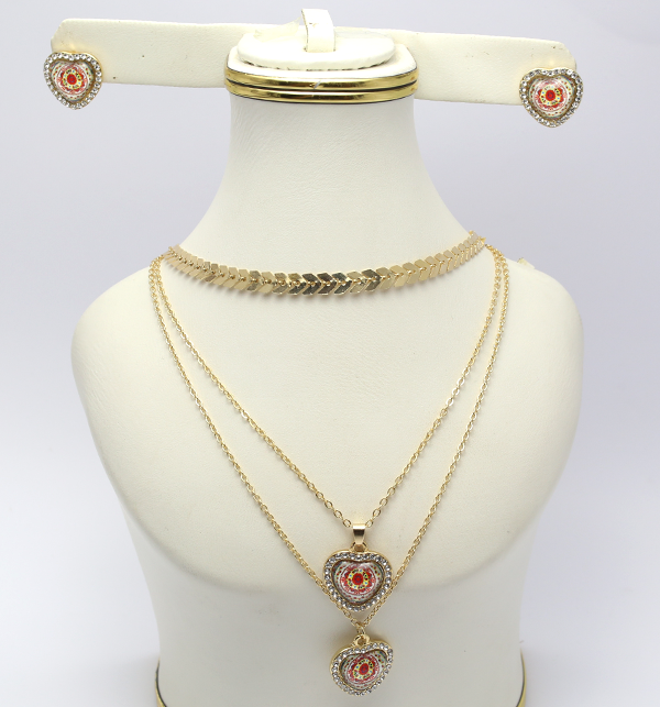 Delicate Heart Shaped Necklace with Earrings (PS-122)