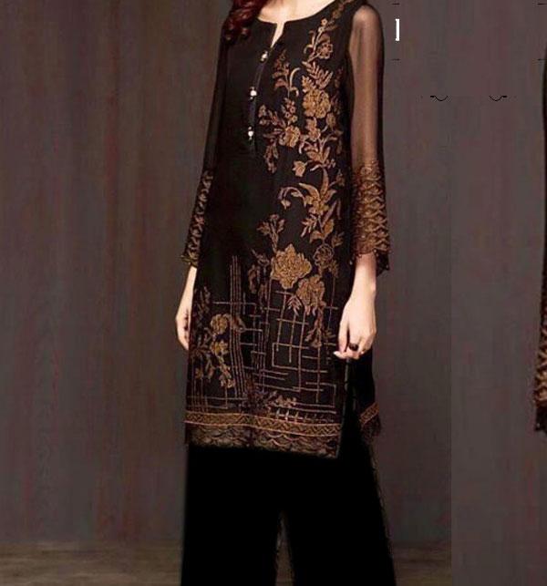 Velvet Embroidered 2PC Suit Jamawar Trouser (UnStitched) (CHI-309)