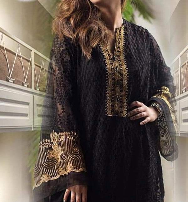 Designer Black Front Full Chiffon Embroidery Kurti (UN-Stitched) (EK-134)