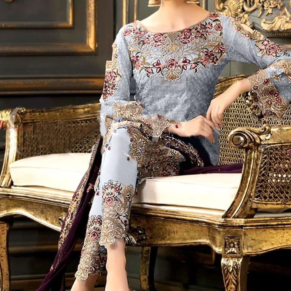 47d3622cdf4 Eid Designer Chiffon Embroidery Suit 2019 With Chiffon Embroidery Duppata  (CHI-268) (Unstitched)