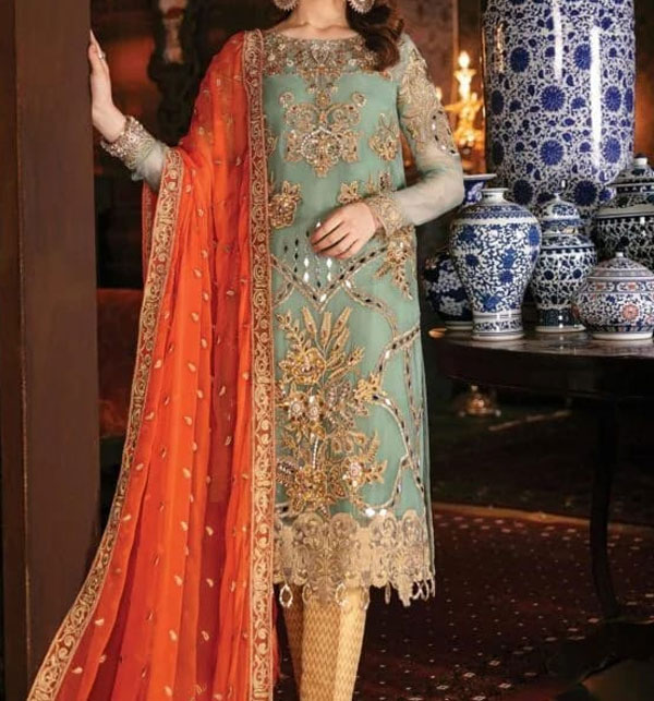 Handwork Chiffon Heavy Embroidery Suits Dress With Chiffon Dupatta Unstitched (CHI-342)