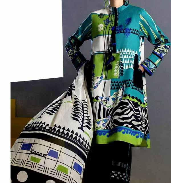 Designer Digital Printed Lawn Suit With Lawn Dupatta  (DRL-840)