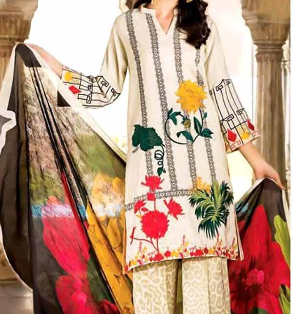 Designer Embroidered Lawn Dress 2021 with Chiffon Dupatta (DRL-829)
