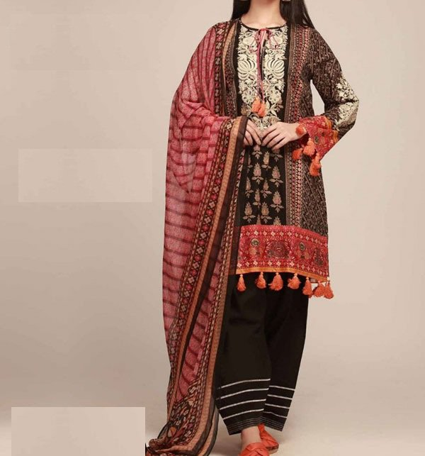 d48a2b12a4 Designer Embroidered Lawn Suit With Chiffon Dupatta (DRL-338) (Unstitched)  Online Shopping & Price in Pakistan
