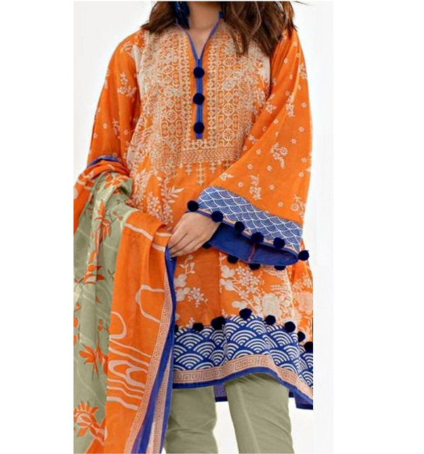 91b525ed03 (SALE) Embroidered Lawn Suit With Chiffon Dupatta (DRL-324) (Unstitched)