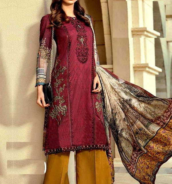 b77e0c2eda (WEEKEND SALE) Embroidered Lawn Suit Chiffon Dupatta Unstitched (DRL-331) Online  Shopping & Price in Pakistan
