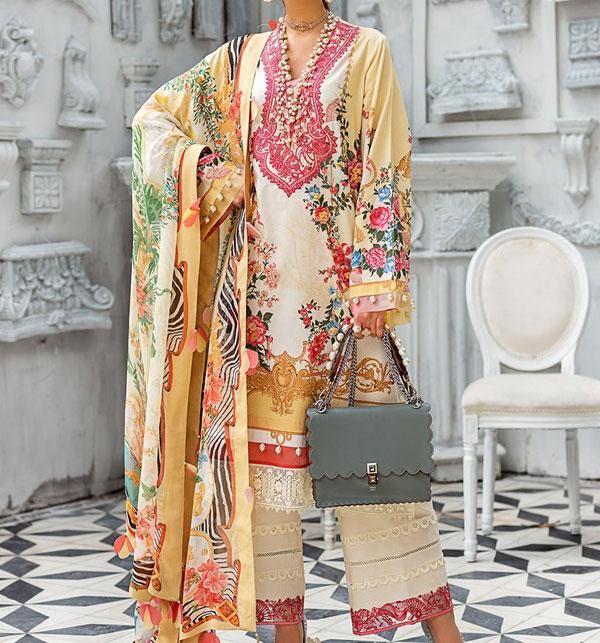 Designer Embroidered Lawn Unstitched 3 Piece Suit - Luxury Lawn (DRL-509)