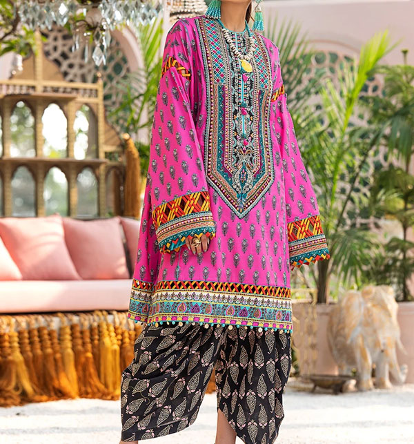 Designer Embroidered Lawn Unstitched 3 Piece Suit With Chiffon Duppata (DRL-510)