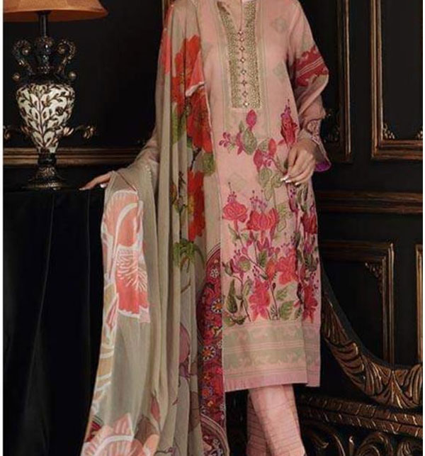 Designer Embroidered Lawn Unstitched 3 Piece Suit With Chiffon Duppata (DRL-512)