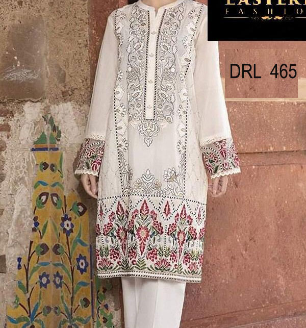 Designer Embroidery Lawn Dress With Lawn Duppata (Unsitched) (DRL-465)