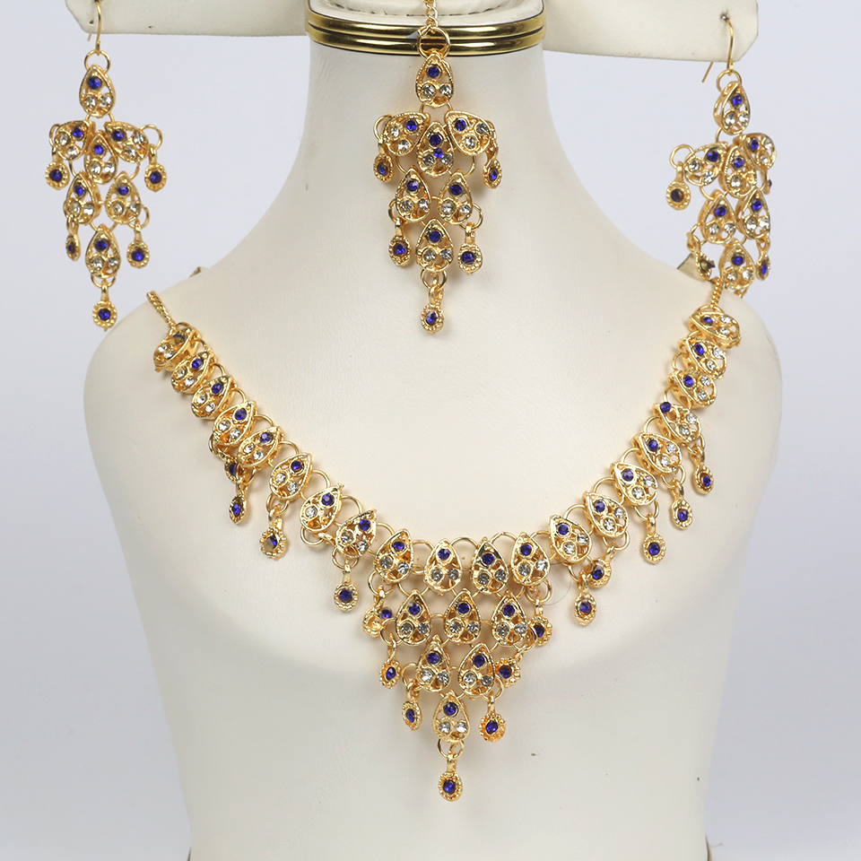 Blue Color Stone Golden Jewellery Set 2021 with Matha Patti (PS-250)
