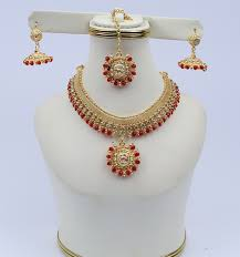Designer Golden Jewellery Set with Matha Patti (PS-117)