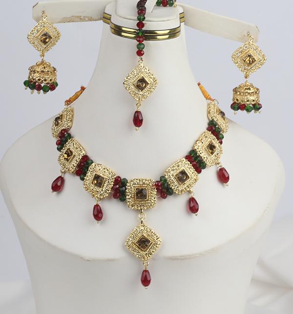 Designer Golden Jewellery Set with Matha Patti (PS-273)