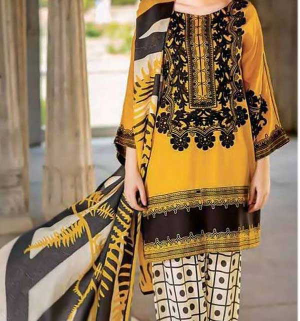 Marina 20*20 Embroidery Dress Printed Trouser With Wool Shawl (KD-77) (UnStitched)