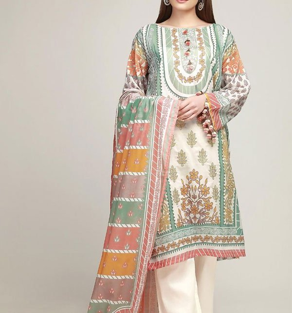 d4f0ae46e4 (WEEKEND SALE) Lawn Embroidery Dress Chiffon Dupatta (DRL-279) (UnStitched) Online  Shopping & Price in Pakistan