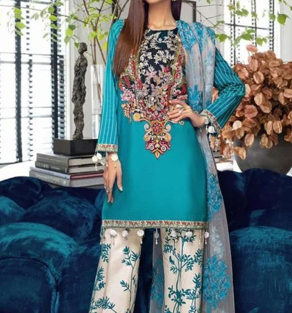 Designer Lawn Emboidery Suit With Chiffon Printed Duppata (DRL-480) (Unstitched)