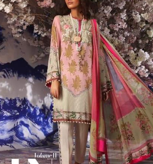 Designer Lawn Embroidered Dress With Chiffon Dupatta (DRL-346) (Unstitched)