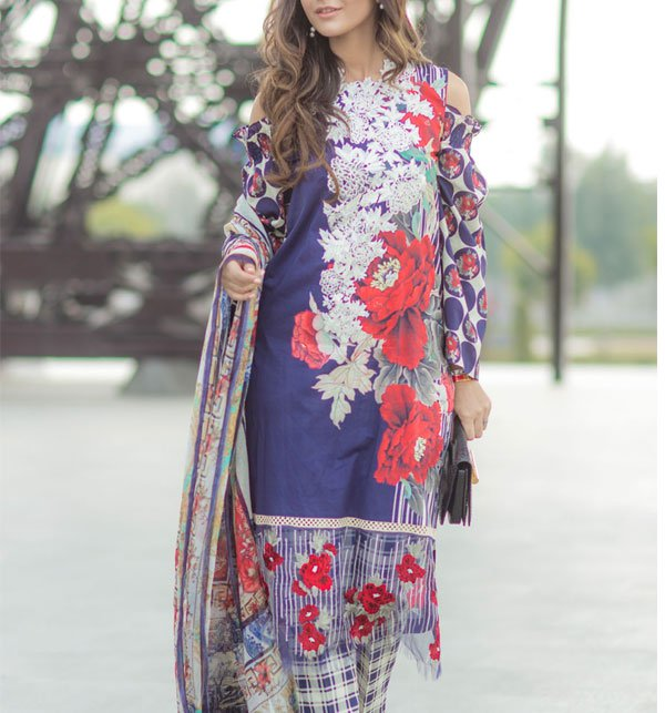 2824580d18 (WEEKEND DEAL) Lawn Embroidered Suit 2019 With Chiffon Dupatta (DRL-355)  (Unstitched)