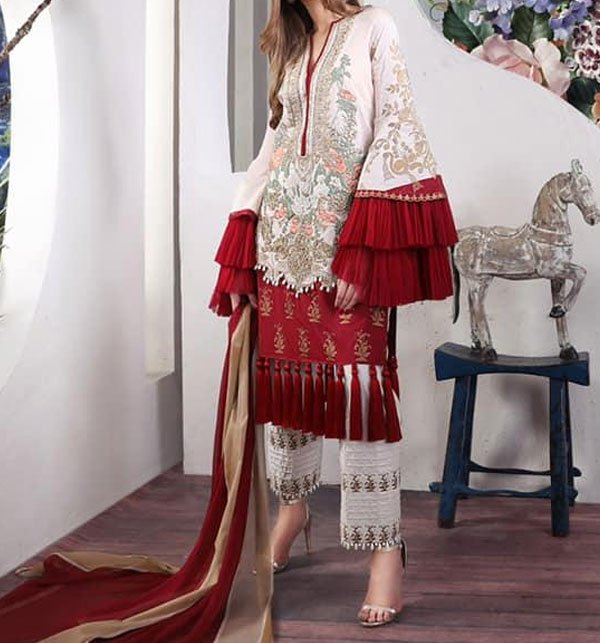 Designer Lawn Embroidered Suit 2019 With Chiffon Dupatta (DRL-356) (Unstitched)