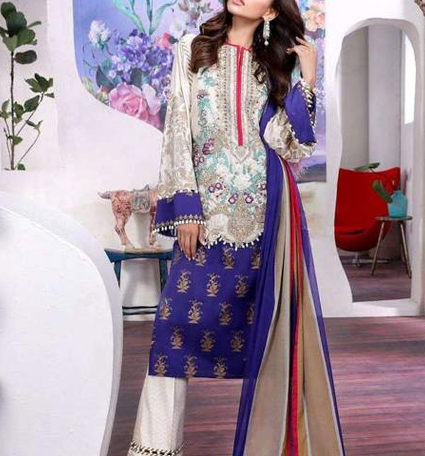 Designer Lawn Embroidered Suit 2019 With Chiffon Dupatta (DRL-357) (Unstitched)