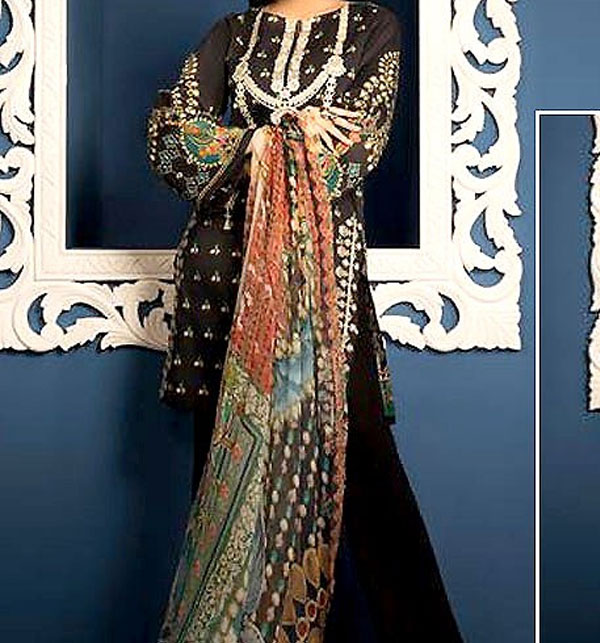 Designer Neck Embroidery Lawn Suit 2019 With Chiffon Dupatta (DRL-276) (UnStitched)