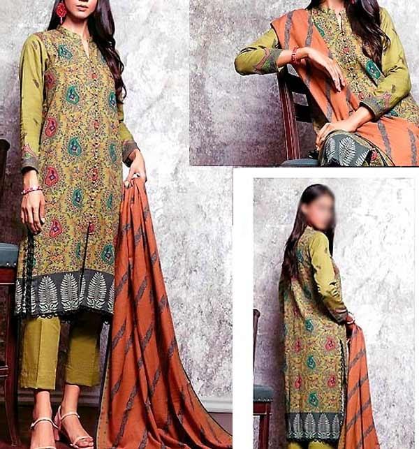 Digital Print Khaddar Dress with Pashmina Shawl(KD-136)