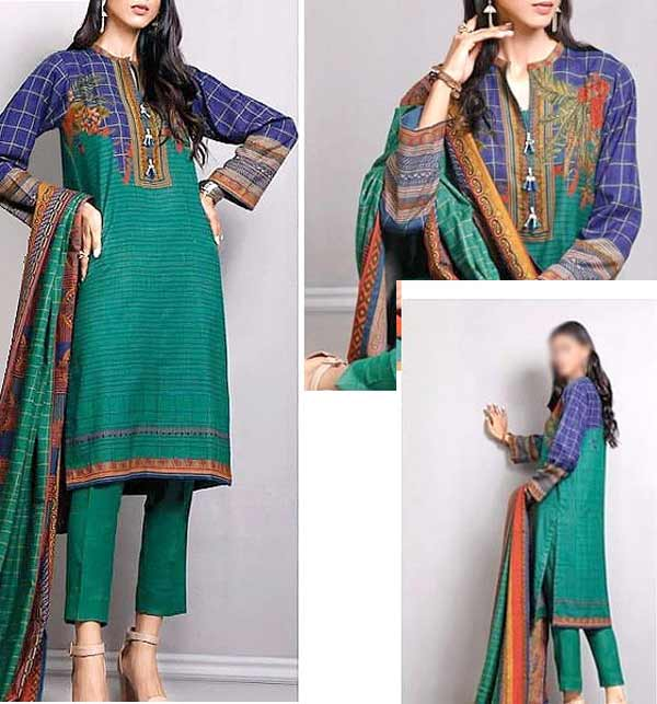 Khaddar Digital Print Suit with Pashmina Shawl (Unsitched) (KD-138)