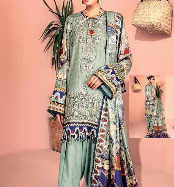 Digital Printed Lawn Suit With Chiffon Duppata (DRL-882)