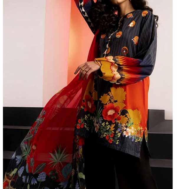 Digital Printed Lawn Suit With Lawn Dupatta (DRL-846)