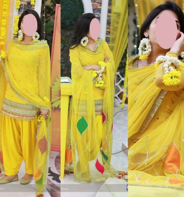 Chiffon Mayo & Mehndi  Dress In Yellow Colour With Gotta Work (CHI-372)