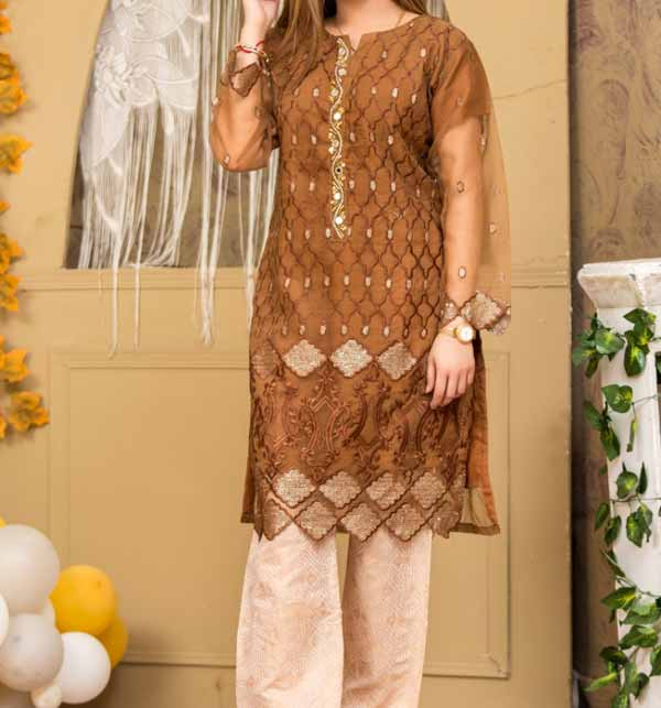 Stitched  Eid 2 Pieces Organza Sequence Embroiderey Suit With Jamawar Trouser  (DRL-792)