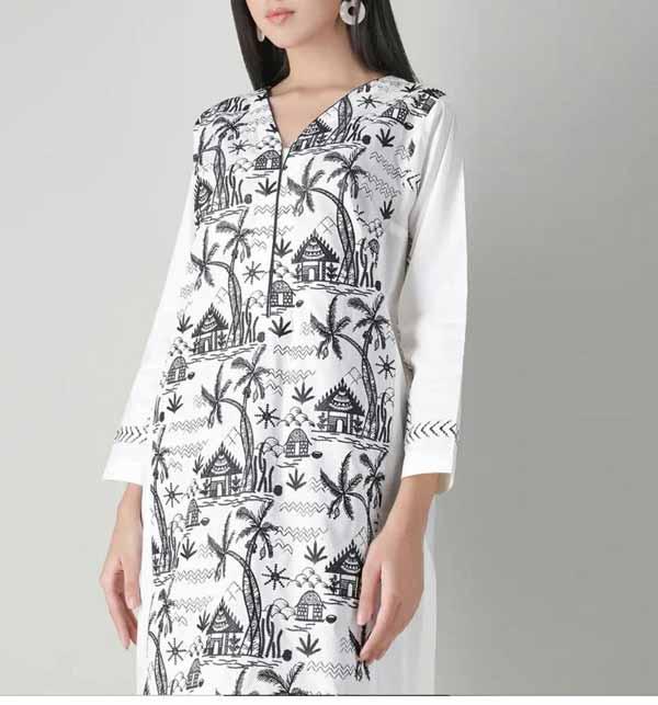 Eid 2 Pieces White & Black Suit 2021 Unsitched (DRL-750)