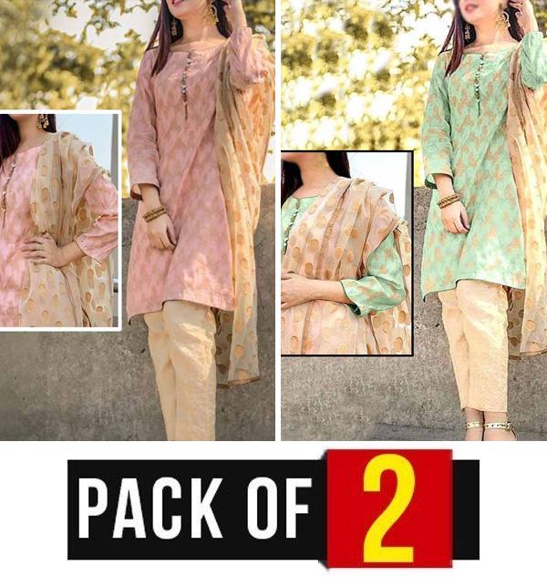 (AZADI SALE)Pack OF 2 Banarsi Jacquard Suite Organza Jacquard Dupatta Jamawr Trouser (DRL-727) &  (DRL-728)