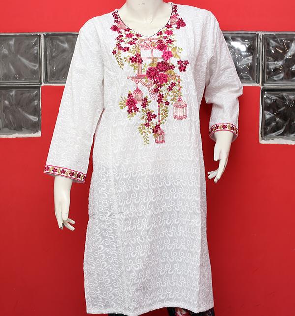 Eid Chikan Neck Embroidery Kurtis White 2019 (stitched) (EK-128)