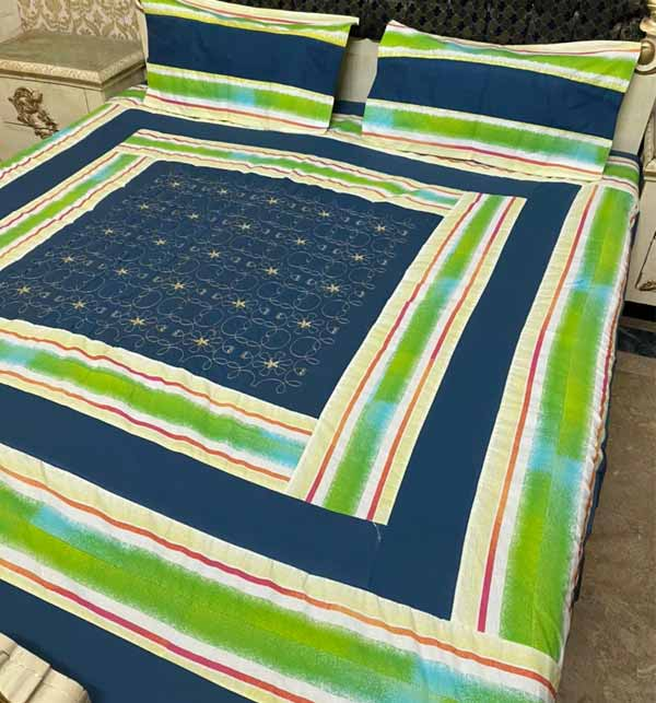 Eid Collection Cotton King Size ParchWork Bed Sheet With 2 Pillow Cover (BCP-40)