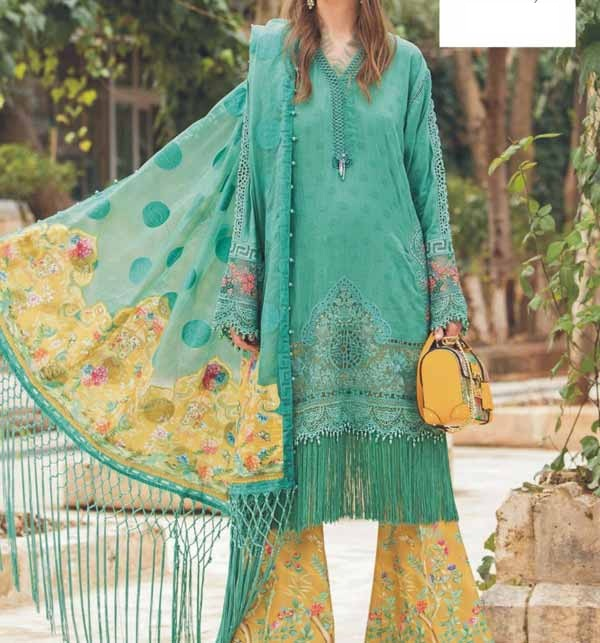 Lawn Full Heavy Embroidered Lawn With Chiffon Duppata (Unsicthed) (DRL-930)