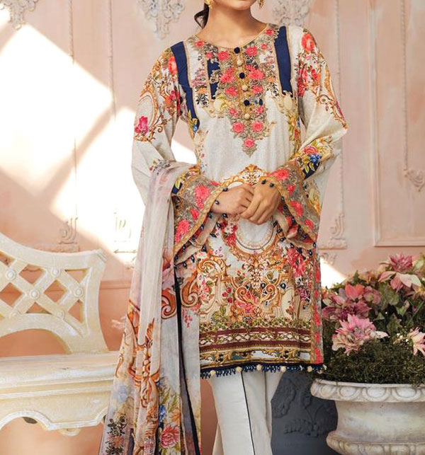Hit Lawn Embroidered Dress 2020 with Lawn Dupatta UnStitched (DRL-578)