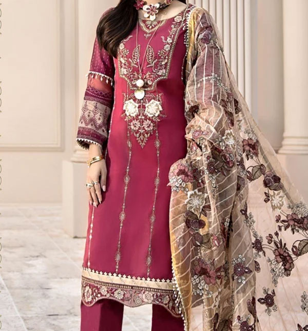 Eid Collection Neck Lawn Embroidery Collection With Chiffon Dupatta (DRL-565)