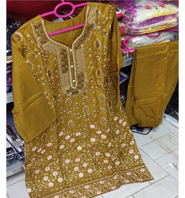 Cotton Stitched Heavy Embroidery Suit (DRL-838)