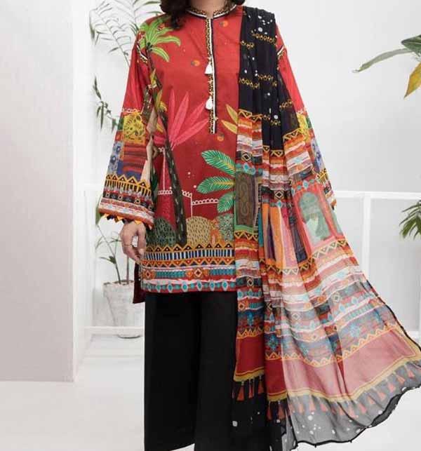 Eid  Digital Printed Lawn Suit with Lawn Dupatta  (DRL-819)