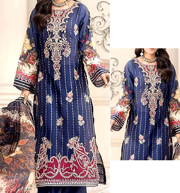 Eid Embroidered Airjet Lawn Dress 2020 with Chiffon Dupatta UnStitched (DRL-574)