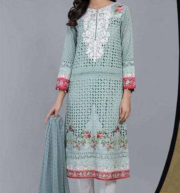Eid Embroidered Chikankari Unstitched 3 Piece Suit  (Unstitched ) (DRL-522)