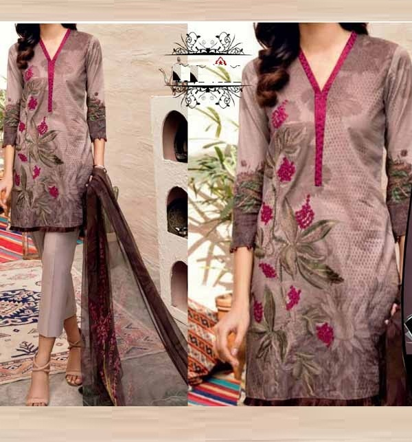 Eid Embroidered Lawn 90/70 With Chiffon Duppata (Unsicthed)  (DRL-928)