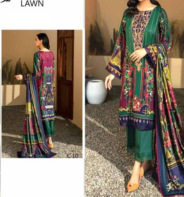 Embroidered Lawn Dress 2021 with Chiffon Dupatta (DRL-755)
