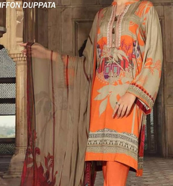 Eid Embroidered Lawn Suit with Chiffon Dupatta UnStitched (DRL-590)