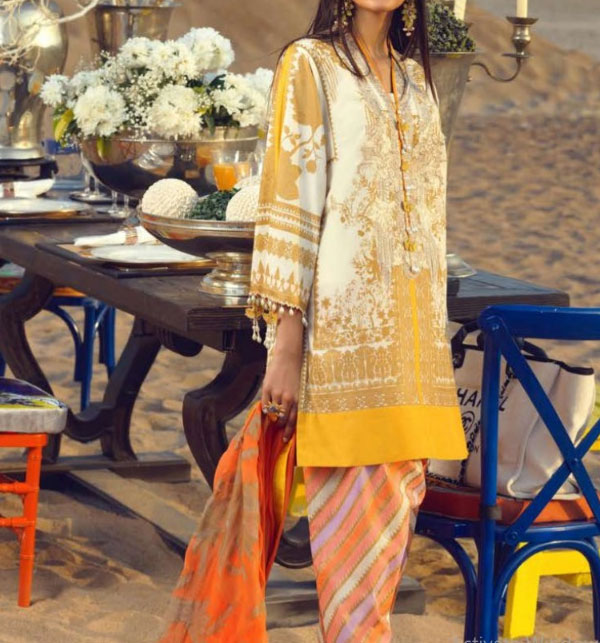 Eid Embroidered Lawn Suit with Chiffon Dupatta UnStitched (DRL-591)