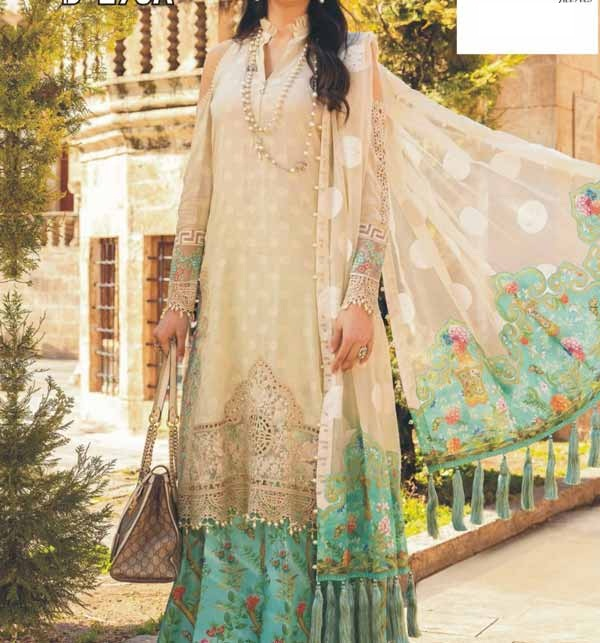 Eid Full Embroidered Lawn 90/70 With Chiffon Duppata (Unsicthed) (DRL-929)
